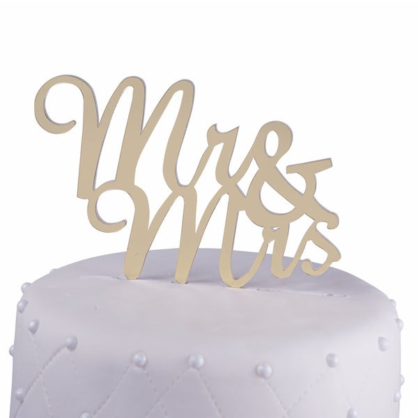 Mr and Mrs Acrylic Gold Mirror Script Wedding Cake Topper