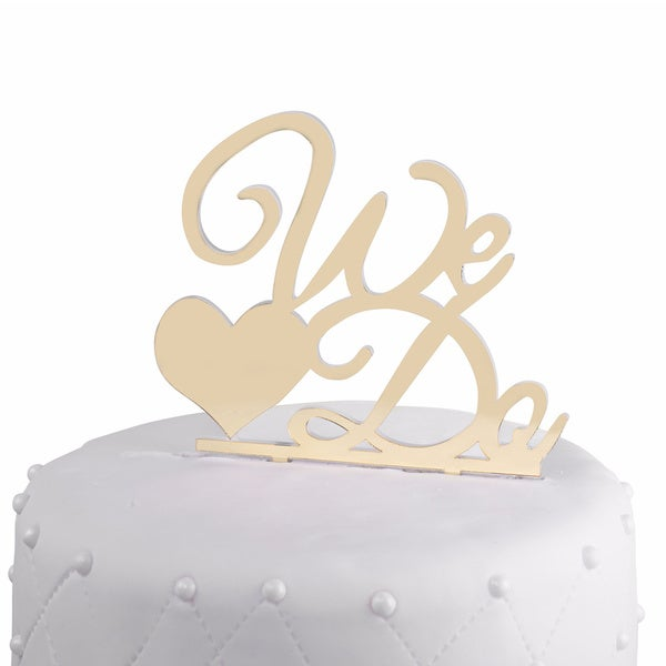 Unik Occasions We Do Gold Mirror Acrylic Wedding Cake Topper