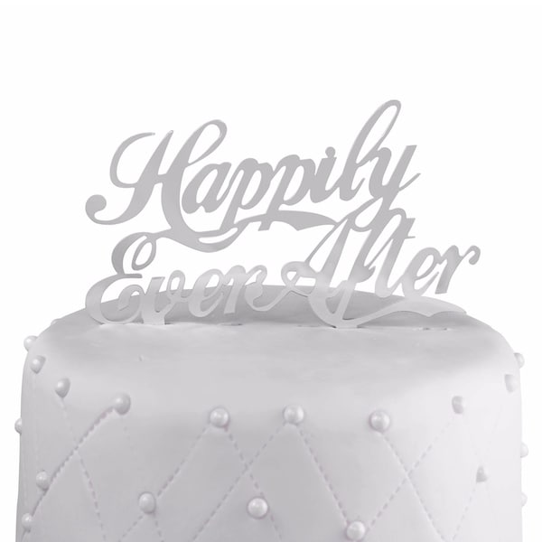 Happily Ever After Silver Mirror Acrylic Wedding Cake Topper