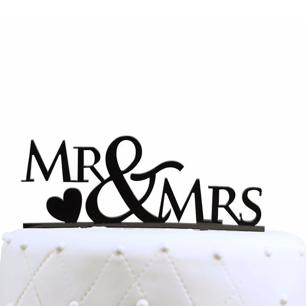 Mr and Mrs Acrylic Black Wedding Cake Topper with Heart
