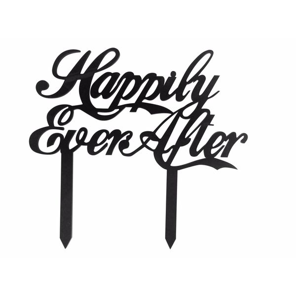 Happily Ever After Black Acrylic Wedding Cake Topper