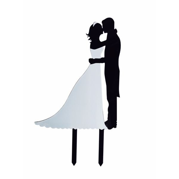 Bridal Couple Silhouette Black/White Acrylic Cake Topper