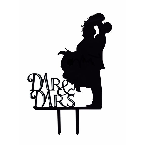 Mr. & Mrs. Kissing Couple Silhouette Black Acrylic Wedding Cake Topper