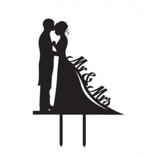 Bride and Groom Silhouette Mr. and Mrs. Acrylic Cake Topper