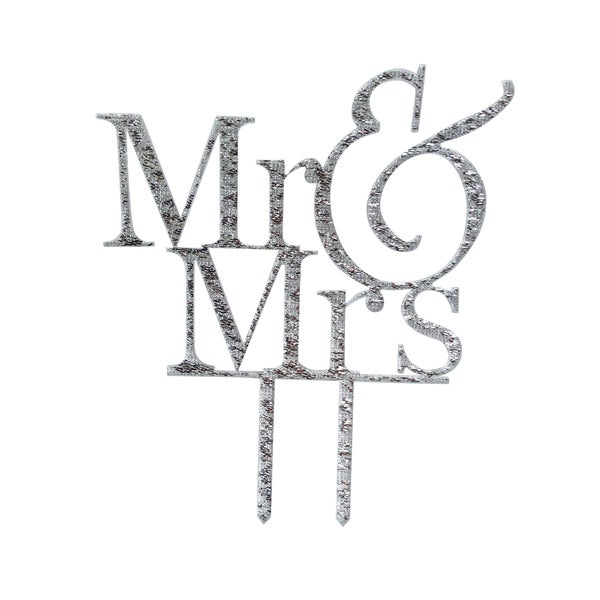 Mr. and Mrs. Silver Glitter Acrylic Cake Topper