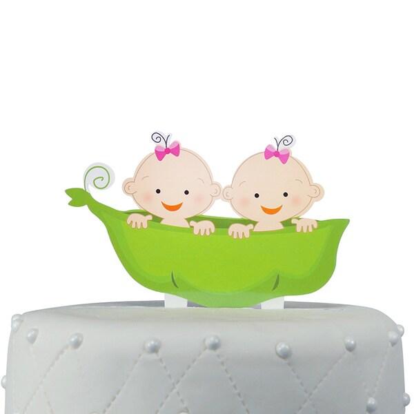 Two Peas in a Pod Twin Girls Acrylic Cake Topper