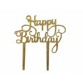 'Happy Birthday' Goldtone Glitter Acrylic Cake Topper