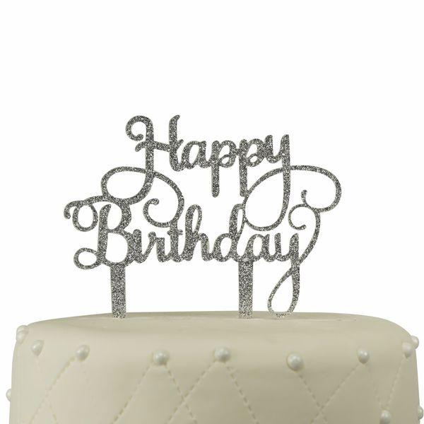 Happy Birthday Silver Glitter Acrylic Cake Topper