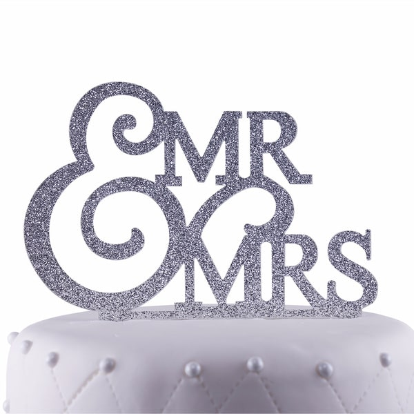 Unik Occasions Mr. & Mrs. Silver Glitter Acrylic Wedding Cake Topper