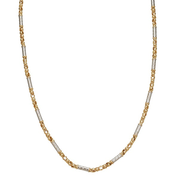 Decadence 14-carat Two-Tone Gold 26-inch Twist Tube Inscription Necklace