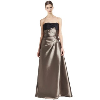 Carolina Herrera Silver Two Tone Metallic Strapless Evening Gown Dress Size 12