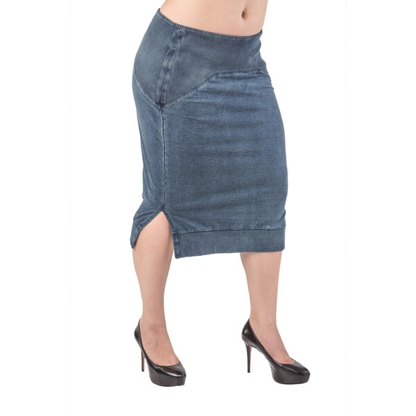 Standards and Practices Women's Plus Size Kelly Indigo Side-slit French Terry Pencil Skirt