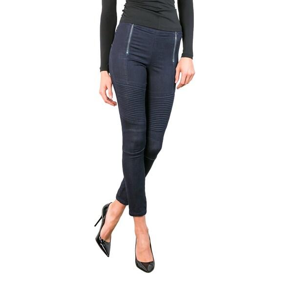 Standards & Practices Women's Sachi Blue Double-zip Denim Cropped Moto Jeans