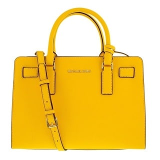 Michael Kors Dillon Sunflower Top Zip East/West Leather Satchel Handbag