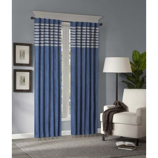 Madison Park Warner Blue/Grey Microsuede Striped Curtain Panel