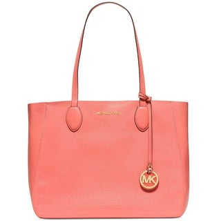 Michael Kors Mae Pink Grapefruit/Pale Gold East West Leather Tote Bag