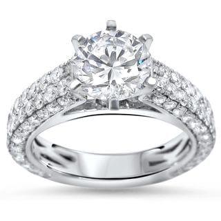 Noori Certified 14k Gold 2 4/5ct TDW Round Enhanced Diamond Engagement Ring (G-H, SI1-SI2)