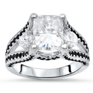 Noori 14-karat White Gold Moissanite Black Diamond Three Stone Engagement Ring