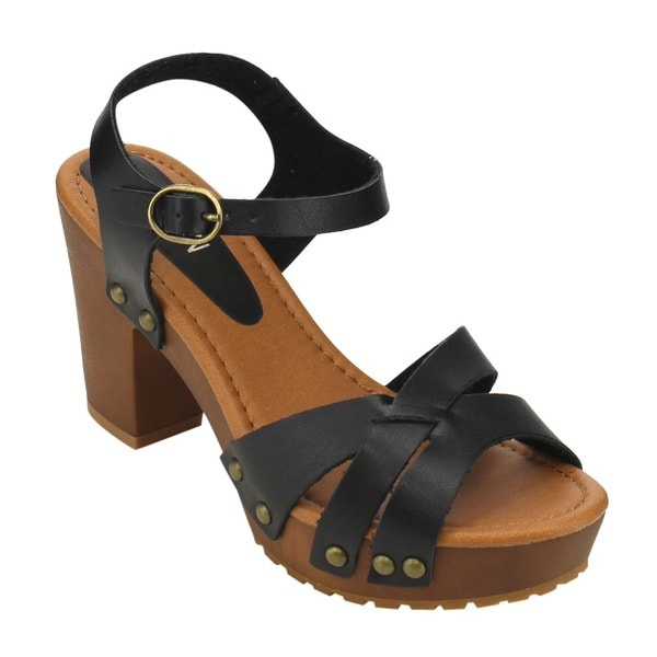 Beston IB13 Women's Faux-leather Studded Buckled Strappy Wooden Chunk-heel Sandals