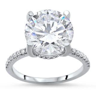 Noori 14k White Gold 3 1/5 ct TGW Round Moissanite Diamond Halo Engagement Ring
