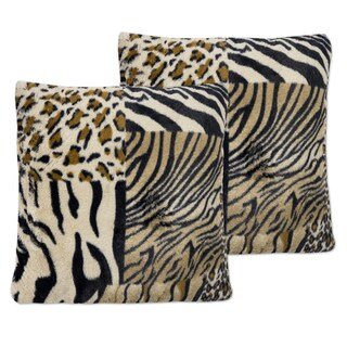 Multicolor Faux Fur 18-inch x 18-inch Mixed Exotic Animal Print Plush Accent Pillows (Set of 2)