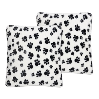 Sweet Home Collection Black/White Faux Fur 18-inch x 18-inch Dalmatian Paw Print Plush Accent Pillows (Set of 2)