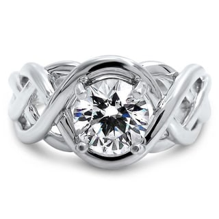 Noori 14k White Gold 1 ct TGW Round Moissanite Infinity Knot Engagement Ring