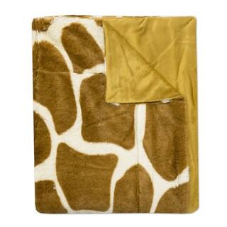 "Giraffe Print Plush Faux Fur Decorative Throw Blanket (50""x60"")"