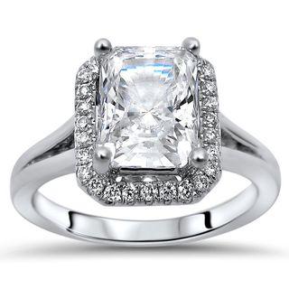 Noori 14-karat White Gold 2/5-carat TGW Radiant Moissanite Diamond Halo Engagement Ring