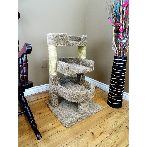 New Cat Condos Multicolor Carpet/Wood/Sisal Rope 33-inch Round Triple Cat Tree