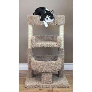 New Cat Condos Multicolor Carpet/Wood/Sisal Rope 33-inch Round Triple Cat Tree