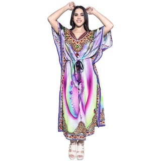 La Leela Women's Purple Silk 3-in-1 Soft Likre Digital Long Evening Beach Dress Lounge Wear Party Cocktail Maxi Prom Kaftan