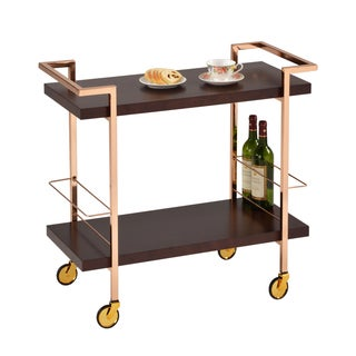 American Atelier Gold-framed Espresso Birch Wood Rolling Cart