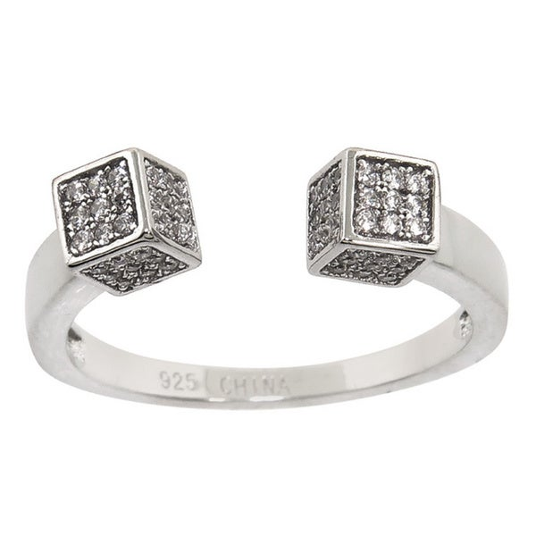Eternally Haute White Brass Cubic Zirconia Pave Cube Ring