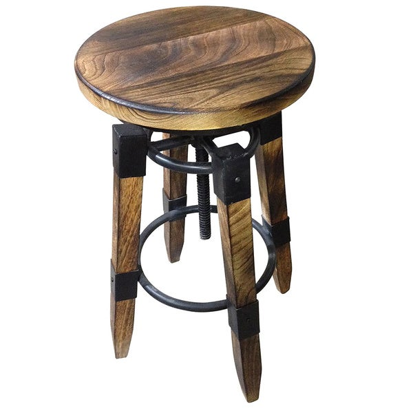 Renfrew Rustic Iron And Mango Wood Adjustable Height Stool