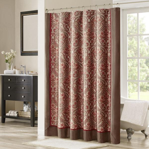 Madison Park Preston Red/Brown Jacquard Shower Curtain