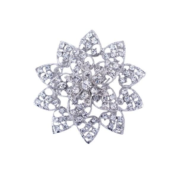 Silver Rhinestone Flower Brooch