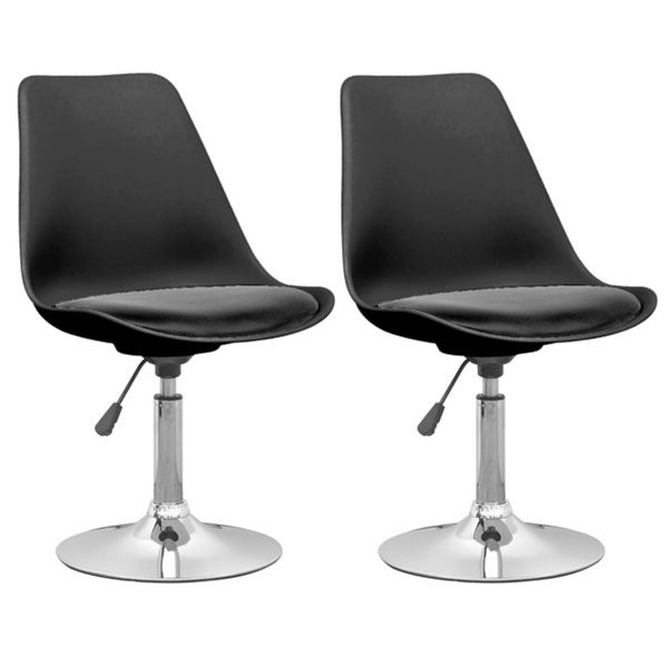 CorLiving DAB-300-C Plastic/Metal Adjustable Chairs with Black Leatherette Seat (Set of 2)
