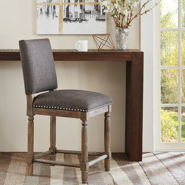 Madison Park Kagen Grey Reclaimed Grey Counter Stool