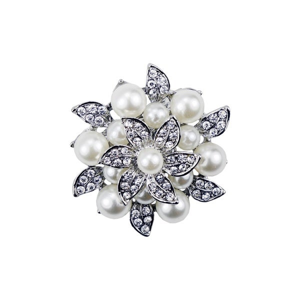 Silverplated Rhinestone Flower Brooch