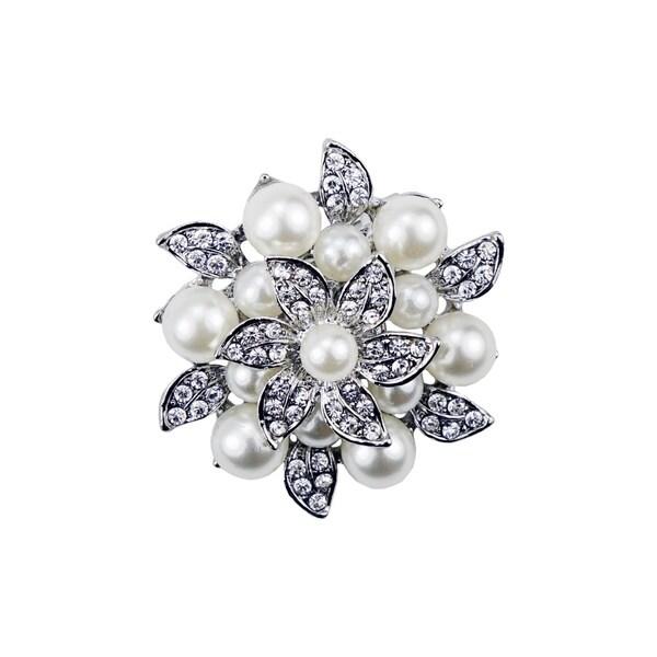 Silverplated Rhinestone Flower Brooch