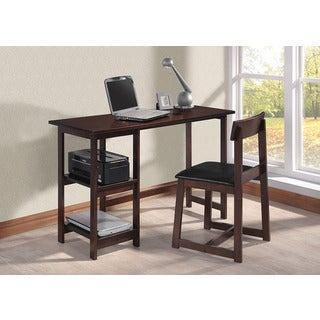 Inroom Espresso Desk And Chair Set 14137684 Overstock