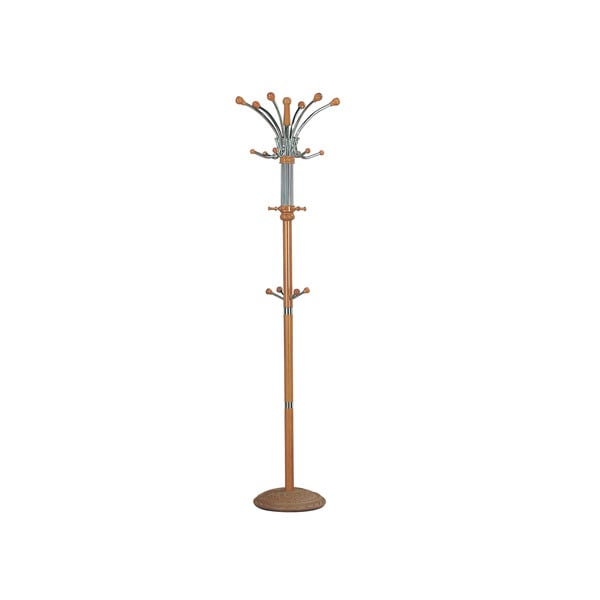 Hubert Oak-finished Wood/Iron Coat Rack with Concrete Base