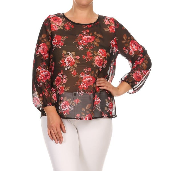 MOA Collection Women's Plus Size Polyester Floral Chiffon Top 19233948