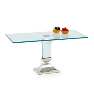 Clear and Nickel Plated Pedestal Cake Stand