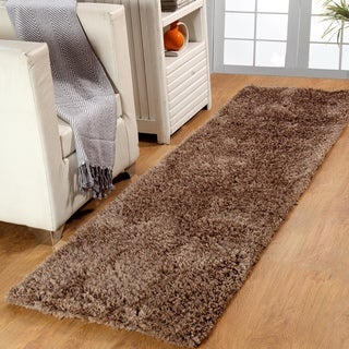 Affinity Home Brown Polypropylene Shag Runner Rug (2' 3 x 11')