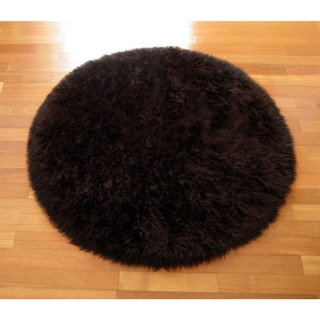 Classic Brown Bear Round Faux Fur Rug (4'7)