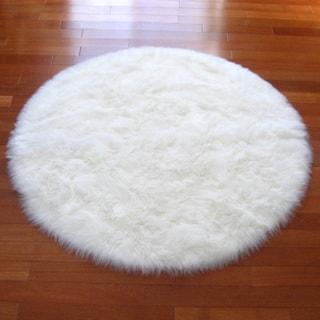 """Snowy White Polar Bear Faux-fur Round Rug (4'7 Round) - 4'7"""" Round"""