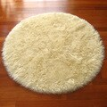 Ivory Classic Sheepskin Faux Fur Round Rug (4'7)