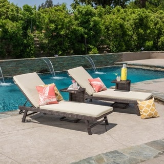 Christopher Knight Home Waveland Outdoor 4-piece Wicker Adjustable Chaise Lounge Set with Cushions